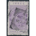 NEW ZEALAND - 1886 3/- mauve QV Stamp Duty, perf. 12½:12½, NZ star watermark (6mm), used – SG # F24