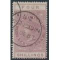 NEW ZEALAND - 1886 4/- purple-claret QV Stamp Duty, perf. 12½:12½, NZ star watermark (6mm), used – SG # F25