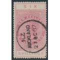 NEW ZEALAND - 1886 6/- rose QV Stamp Duty, perf. 12½:12½, NZ star watermark (6mm), used – SG # F27