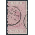 NEW ZEALAND - 1888 £1 pink QV Stamp Duty, perf. 12½:12½, NZ star watermark (7mm), used – SG # F45