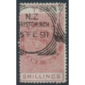 NEW ZEALAND - 1890 10/- brown-red QV Stamp Duty, perf. 12½:12½, NZ star watermark (4mm), used – SG # F54