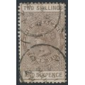 NEW ZEALAND - 1895 2/6 brown QV Stamp Duty, perf. 11:11, NZ star watermark (7mm), used – SG # F57