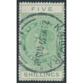 NEW ZEALAND - 1924 5/- yellow-green QV Stamp Duty, perf. 14½:14, single watermark, used – SG # F127