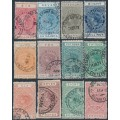 NEW ZEALAND - 1903-1930 6/- to £9 range of QV Stamp Duty stamps with fiscal cancels