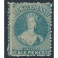 NEW ZEALAND - 1872 6d pale blue QV Chalon, perf. 12½, star watermark, MH – SG # 136