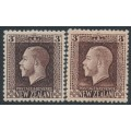 NEW ZEALAND - 1915 3d chocolate KGV definitive in two shades, perf. 14:14½, MH – SG # 420b