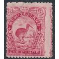 NEW ZEALAND - 1907 6d carmine-pink Kiwi, line perf. 14, MH – SG # 376