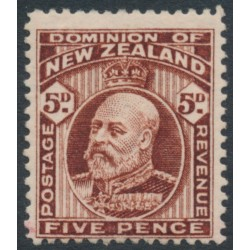 NEW ZEALAND - 1909 5d brown KEVII definitive, line perf. 14, MH – SG # 397