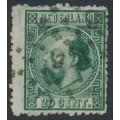 NETHERLANDS - 1867 20c green King Willem III with an offset on the back