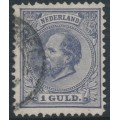 NETHERLANDS - 1872 1Gld grey-violet King Willem III, perf. 12½:12, used – NVPH # 28H