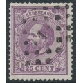 NETHERLANDS - 1872 25c lilac King Willem III, perf. 13½:13¼, used – NVPH # 26G