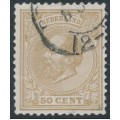NETHERLANDS - 1872 50c yellow-brown King Willem III, perf. 12½:12½, used – NVPH # 27L