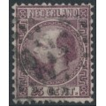 NETHERLANDS - 1867 25c dark violet King Willem III, type II, perf. 12¾:11¾, used – NVPH # 11IIA