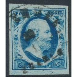 NETHERLANDS - 1852 5c dark blue King Willem III imperforate, plate III, used – NVPH # 1i