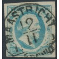 NETHERLANDS - 1852 5c milky blue King Willem III imperforate, plate IV, used – NVPH # 1m