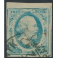 NETHERLANDS - 1852 5c pale blue King Willem III imperforate, plate IV, used – NVPH # 1n