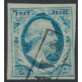 NETHERLANDS - 1852 5c blue King Willem III imperforate, plate VI, used – NVPH # 1r