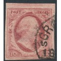 NETHERLANDS - 1852 10c dull red King Willem III, imperforate, plate V, used – NVPH # 2j