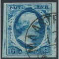 NETHERLANDS - 1852 5c dark blue King Willem III imperforate, plate III, used – NVPH # 1i