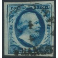 NETHERLANDS - 1852 5c deep blue King Willem III imperforate, plate III, used – NVPH # 1i