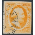 NETHERLANDS - 1852 15c orange King Wilhelm III, used – NVPH # 3c