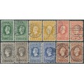 NETHERLANDS - 1913 2½c to 20c Jubilee set, perf. 11½:11½ & 11½:11, used – NVPH # 90A-95A + 90B-95B