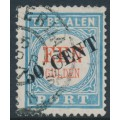 NETHERLANDS - 1906 50 cent overprint on 1G blue/red Postage Due (type III), used – NVPH # P28III