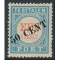NETHERLANDS - 1906 50 cent overprint on 1G blue/red Postage Due (type I), MH – NVPH # P28I