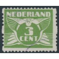 NETHERLANDS - 1925 3c yellow-green Numeral, no watermark, coil perf. two sides, used – NVPH # R4