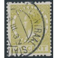 NETHERLANDS - 1925 25c olive-green Queen, no watermark, coil perf. two sides, used – NVPH # R14