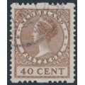 NETHERLANDS - 1925 40c brown Queen, no watermark, coil perf. two sides, used – NVPH # R16