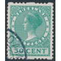NETHERLANDS - 1925 50c blue-green Queen, no watermark, coil perf. two sides, used – NVPH # R17