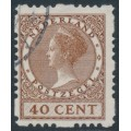 NETHERLANDS - 1928 40c brown Queen, rings watermark, coil perf. four sides, used – NVPH # R54