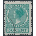 NETHERLANDS - 1928 50c blue-green Queen, rings watermark, coil perf. four sides, used – NVPH # R55