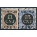 NETHERLANDS - 1924 11CNT & 15CNT Parcel Stamp overprints set of 2, perf. 12½, used – NVPH # PV1A + PV2A