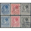 NETHERLANDS - 1926 1G to 5G Queen Wilhelmina sets of 3 perf. 11½ & 12½, used – NVPH # 163-165