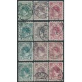 NETHERLANDS - 1926 1G to 5G Queen Wilhelmina sets of 3 in the four different perf., used – NVPH # 77-79
