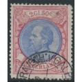 NETHERLANDS - 1872 2.50G red/ultramarine King Willem III, used – NVPH # 29