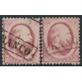 NETHERLANDS - 1864 10c red King Willem III (Utrecht & Haarlem printings), used – NVPH # 5A+5B
