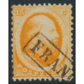 NETHERLANDS - 1864 15c deep orange King Willem III (Utrecht printing), used – NVPH # 6A