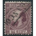 NETHERLANDS - 1867 25c dark violet King Willem III, type I, perf. 12¾:11¾, used – NVPH # 11IA