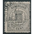 NETHERLANDS - 1869 1c black Coat of Arms, perf. 14:14, used – NVPH # 14A