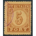 NETHERLANDS - 1874 5c brown on orange Postage Due (type II), perf. 13¼, used – NVPH # P1AB
