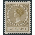 NETHERLANDS - 1934 21c olive-brown Queen, rings watermark, coil perf. two sides, MH – NVPH # R68