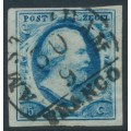 NETHERLANDS - 1852 5c deep blue King Willem III, imperforate, plate I, used – NVPH # 1b