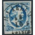 NETHERLANDS - 1852 5c steel blue King Willem III, imperforate, plate I, used – NVPH # 1c