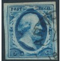 NETHERLANDS - 1852 5c deep blue King Willem III, imperforate, plate III, used – NVPH # 1i