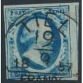 NETHERLANDS - 1852 5c deep blue King Willem III, imperforate, plate III, used – NVPH # 1i