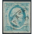 NETHERLANDS - 1852 5c pale blue King Willem III, imperforate, plate IV, used – NVPH # 1n