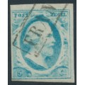 NETHERLANDS - 1852 5c pale blue King Willem III, imperforate, plate V, used – NVPH # 1o